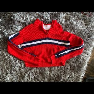 Red quarter-zip cropped pullover